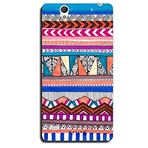 Mozine Aztec Blue Pink Pattern printed mobile back cover for Sony Xperia C4