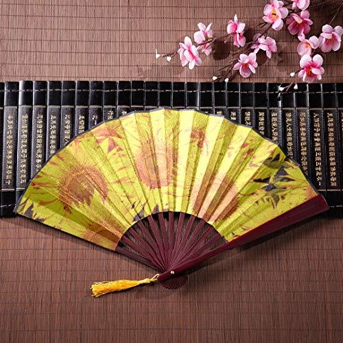 AGIRL Hand Fan Craft hell farbige gelbe Sonnenblume mit Bambus Rahmen Quaste Anhänger und Stoffbeutel Handfächer große japanische Fan chinesische Kung Fu Fan (Billig Crafts Einfach Halloween)