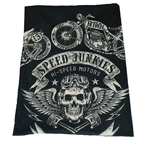 Trixes bandana multiuso nera con teschio stile biker da usare come sciarpa, passamontagna, fascia ecc.