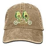 Unisex Avocado Riding Bike Cotton Denim Baseball Cap Adjustable Sun Hat for Men Or Women