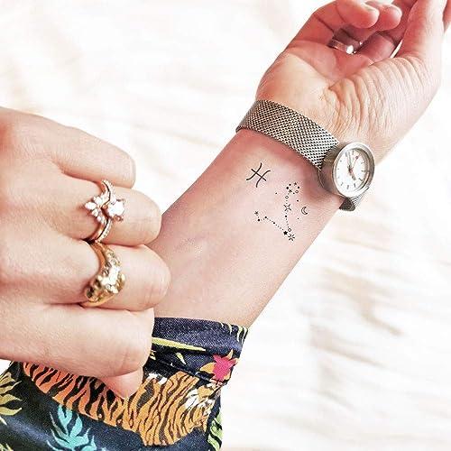 Minimal Pesci - Segni zodiacali piccoli - Tatuaggio temporale (Set of 2)