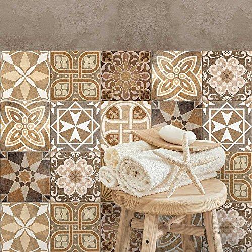 24 Adhesivo para azulejos 15x15 cm - PS00146 - Adria - Adhesivo decorativo para azulejos para baño y cocina - Stickers azulejos - Collage de azulejos