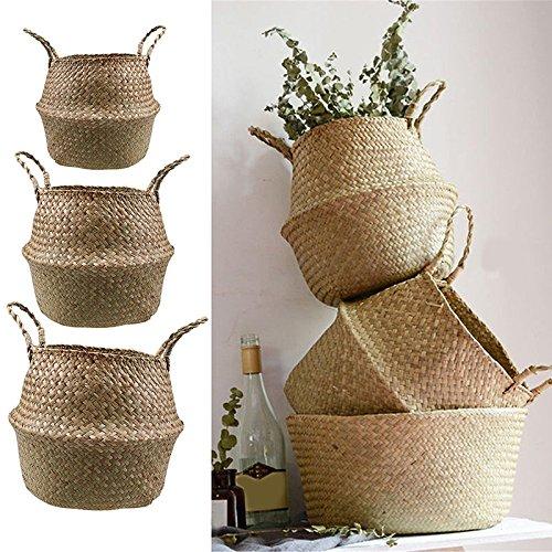 EgBert Gartenblumenbeutel Seagrass Belly Basket Lagerung Anlagerung Faltgebietsaufbewahrung Kindererziehungs-Auftragen - S