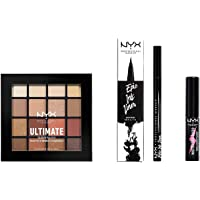 NYX Professional Makeup Kit Occhi, Epic Ink Liner, Set Make Up, Worth The Hype Mascara, Ultimate Shadow Palette Warm…