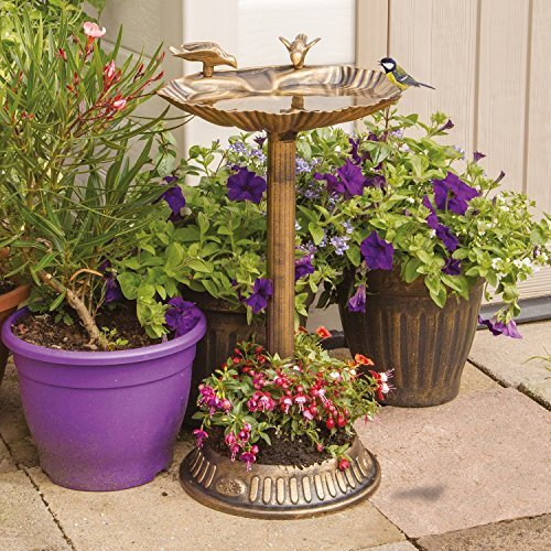 Gardenkraft Bronze Effect Clam Shell Bird Bath with Base Planter -