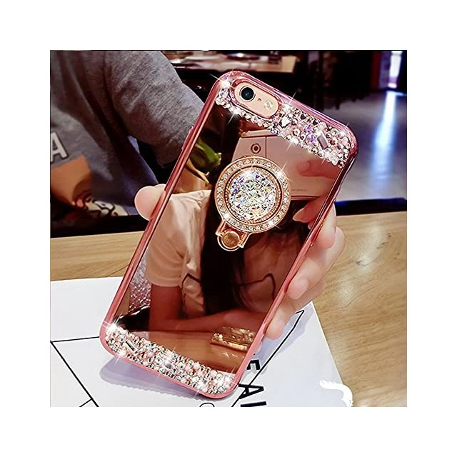 360 Rotation Bague b/âton Coque Galaxy A20e Miroir Housse en Silicone TPU,Surakey Paillette Strass Glitter Coque Effet Miroir Etui TPU T/él/éphone Coque de protection pour Samsung Galaxy A20e,Or Rose