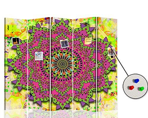 F FEEBY WALL DECOR Separador Foto Corcho Mandala 5 Paneles Unilateral India SPA Rosa 180x175 cm