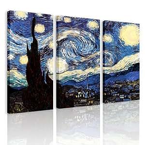 S69 la notte stellata 3 quadri moderni 120x80 cm stampa digitale su tela ideale per - Quadri da appendere in cucina ...