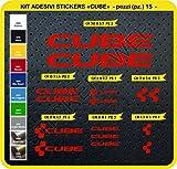 Code 0094- Cube selbstklebend Fahrrad Aufkleber-Kit, 15Aufkleber, Auswahl von Farben - Rosso cod. 031