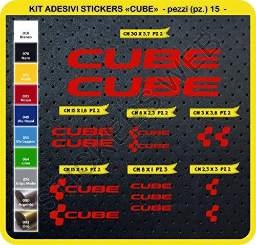 Preisvergleich Produktbild Code 0094- Cube selbstklebend Fahrrad Aufkleber-Kit, 15Aufkleber, Auswahl von Farben - Rosso cod. 031