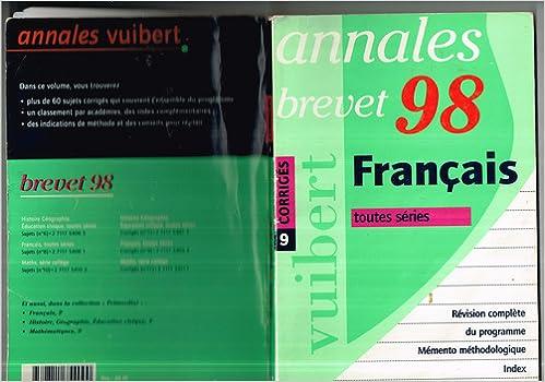 Livres gratuits en ligne Annales de français du brevet 1998, numéro 9, corrigés pdf, epub ebook