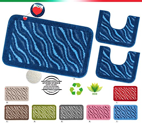 Arrediamoinsieme-nelweb tappeto bagno set 3 pezzi girowater parure shaggy assorbente retro antiscivolo mod.apollo set 3 pezzi grigio (g)