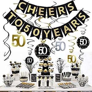 5 Happy New Year Black /& Gold Whirls Hanging Decor Swirls Eve Party Celebration