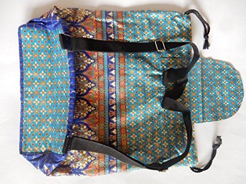Zaino In Cotone Con Motivo Thai - Diversi Modelli Blu