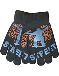 Boy's Warm Winter Thermal Knit Funky Design Magic Gripper Gloves