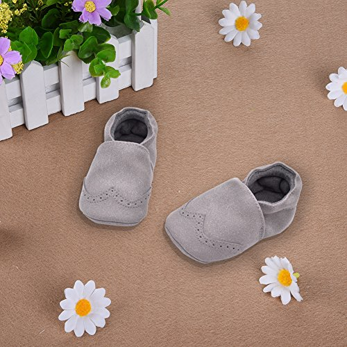 Luerme Babyschuhe Kleinkind Slip On Schuhe Leder Wanderschuhe Weiche Sohle Lauflernschuhe Krippeschuhe Grau