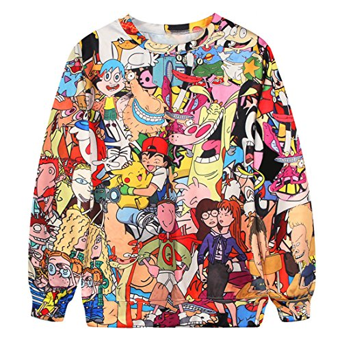 YICHUN Femme Tops T-Shirts Tee-Shirt de Loisir Fin Sweat-shirts Sweaters Impression Pulls Blouse Pull-Overs Jumpers Animation 15#