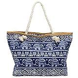 CASPAR TS1042 große XXL Damen Strandtasche/Shopper mit ELEFANTEN Muster, Farbe:dunkelblau;Größe:One Size