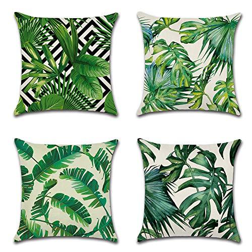 JOTOM Grün Pflanze gedruckt Muster Kissenbezug 4er Set Leinen-Baumwoll atmungsaktiv Kissenhülle Kopfkissenbezug 45 x 45cm