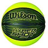 Wilson Ballon Basketball Extérieur, Surface Rugueuse, Asphalte, Granuleuse, Sol synthétique,Taille 7, À partir de 12 ans, Hyper Shot I, Noir/Gris