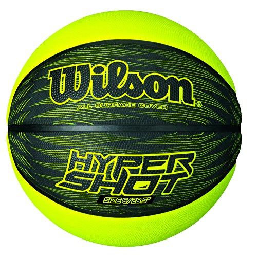 Wilson Outdoor-Basketball, Rauer Untergrund, Asphalt, Granulat, Kunststoffboden, Größe 7, ab 12 Jahre, Hyper Shot I, Schwarz/ Grün