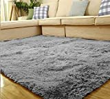 "Weimanshop Soft Contemporary Carpet Floor Mat Cozy Shaggy Rug Living Room Bedroom Decor 31.5"" x 47"" Silver Grey"