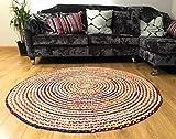 Second Nature Fair Trade 120cm groß rund geflochten Flickenteppich Baumwolle Jute bunten Chindi Matte