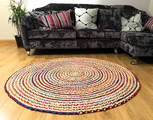Fair Trade Alfombra grande redonda trenzada de algodón, yute, multicolor, chindi, de 120cm
