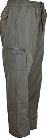 MENS TROUSERS WITH THERMAL LINING COMBAT STYLE ELASTICATED WAIST WITH DRAW CORD M L XL XXL XXXL