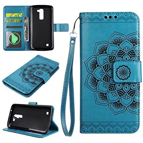 YHUISEN LG K8 Fall, geprägtes halbes Blumenmuster [Handgelenkschlaufe] Premium PU Leder Geldbörse Beutel Flip Stand Case für LG K8 / Escape 3 / Phoenix 2 ( Color : Gold ) Blue