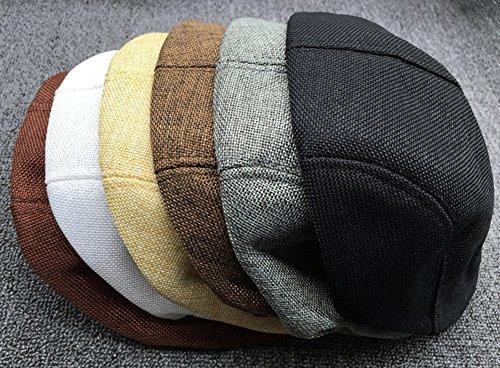 TININNA Uomini e Donne Autunno Moda Confortevole Traspirante Coppola  Cappello di Lino Beret Hat Berretto Nero 14e564ee6ee3