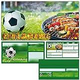 12er Set Fussball & Grillen Einladungskarten mit Umschlägen - Fußball Einladungen für BBQ Grill-Party Jungen Mädchen Kindergeburtstag von BREITENWERK®