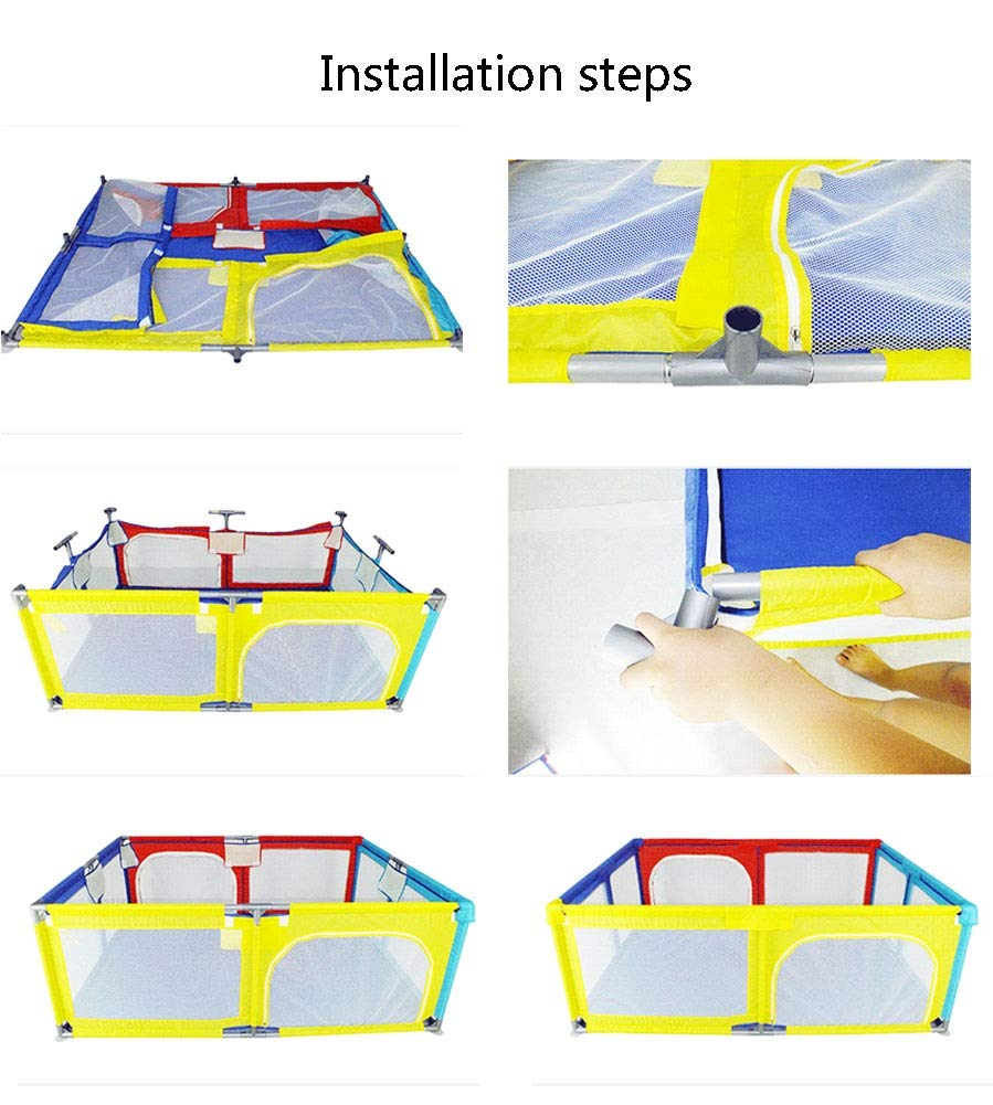 Playpen Big Bed Anti-drop Baffle for Infants, Baby Indoor Outdoor, Kid's Safety Activity Center, 180x190x70cm (color : Multicolor) Playpen  6