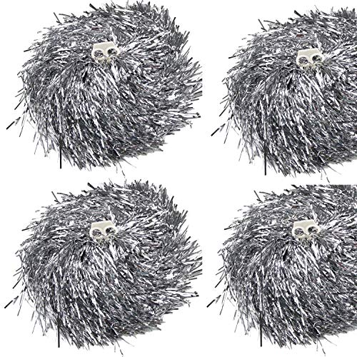 ding Pom Poms, Cheerleader Pompons für Ball Dance Kostüm Night Party Sports (Silber, 100g) ()