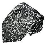 Lorenzo Cana Marken Krawatte aus 100% Seide - silber grau silbergrau schwarz Barock Paisley Business - 36007