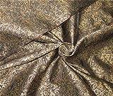 TheFabricFactory Brokat-Stoff, wendbar, 111,8 cm breit, Schwarz/Antik-Goldfarben