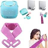 ROASHI [2 pcs combo] silicone bathing brush, with back scrubber for bathing, body scrubber for bathing, bathing scrub, silico