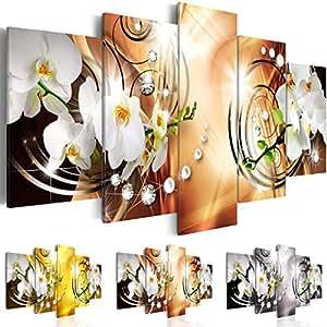 Quadro 200x100 cm - Tre colori da scegliere - 5 Parti - Grande Formato - Quadro su tela fliselina - Stampa in qualita fotografica - Fiori Orchidea Perle Diamant b-A-0257-b-o 200x100 cm B&D XXL