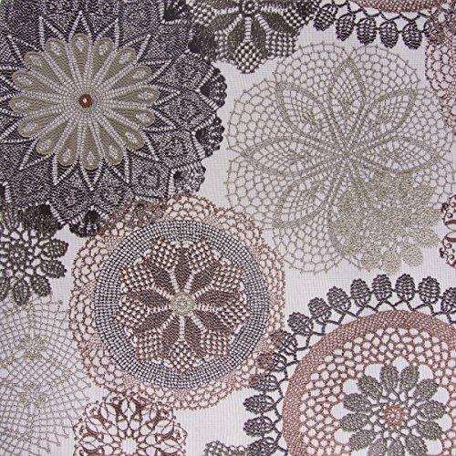 Möbelstoff Polsterstoff Dekostoff Doily Mandala Blumen mocca 1,40m Breite -