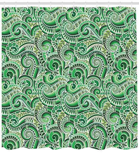ABAKUHAUS asiatisch Duschvorhang, Klassisches Retro Mehendi, mit 12 Ringe Set Wasserdicht Stielvoll Modern Farbfest und Schimmel Resistent, 175x220 cm, Schwarz Grün -
