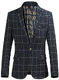 QZUnique Women's Fashion Slim Fit Grid Blazer Jacket US S Dark Gray