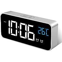 MOSUO Réveil Numérique, Horloge Digitale Réveil Miroir LED Aver Température/Snooze/ 2 Alarme, Luminosité et Son Réglable…