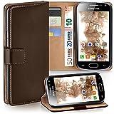 moex Samsung Galaxy Ace 2 | Hülle Dunkel-Braun mit Karten-Fach 360° Book Klapp-Hülle Handytasche Kunst-Leder Handyhülle für Samsung Galaxy Ace 2 Case Flip Cover Schutzhülle Tasche