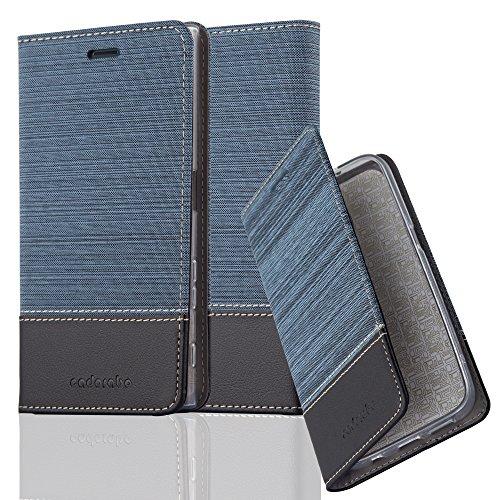 Cadorabo Hülle für Sony Xperia XZ/XZs - Hülle in DUNKEL BLAU SCHWARZ – Handyhülle mit Standfunktion und Kartenfach im Stoff Design - Case Cover Schutzhülle Etui Tasche Book