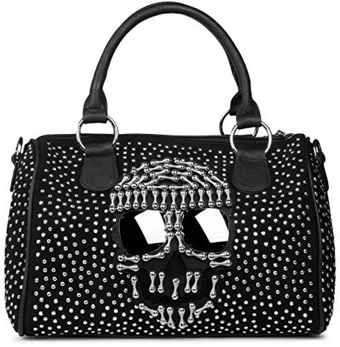 styleBREAKER Bowling Bag Handtasche mit aufgesetztem Totenkopf mit Sunglasses und Strass Nieten Applikation, Henkeltasche, Damen 02012027, Farbe:Schwarz (Handtasche Strass-totenkopf)