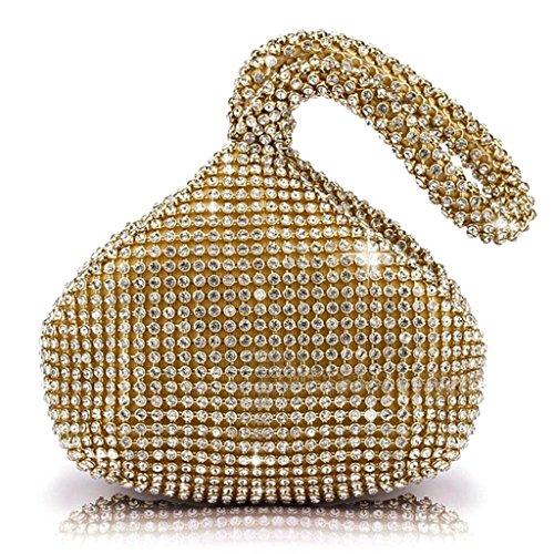 HuntGold - Bolso de mano para mujeres, con cristales brillantes, color dorado