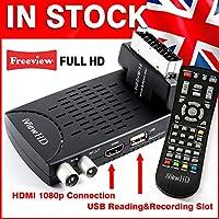 UK Mini Scart FULL HD Freeview Set Top Box Receiver Digi Box Digital TV Tuner Terrestrial USB HD Recorder HDMI or SCART Connections