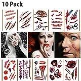 10 Pcs Halloween Tattoo Gesicht,Zombie Narben Vampir Wasserdichte Tattoo Cosplay Aufkleber,Wunden...