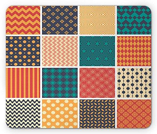 Patchwork Maus Pad, Fliesen von verschiedenen Stil Mustern wie Zigzag Dotted Karierte Formen der Elements, Rechteck rutschfeste Gummi Mauspad, multicolor