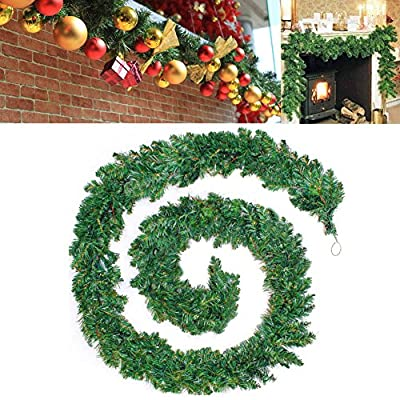 Decorated Christmas Wreath Garland Plain Green Wall Door Xmas Decoration 9FT/2.7M